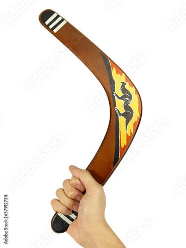 Poster Hand with kangaroo painted boomerang