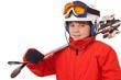 Kind, Junge - Junger Skifahrer mit Skihelm und Kinnbügel