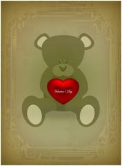 Teddy bear with heart on vintage background