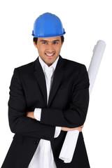Businessman with architect plan