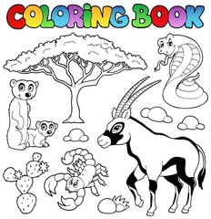 Coloring book savannah animals 1