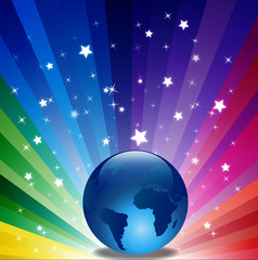 Glossy Earth Isolated on Sparkle Background