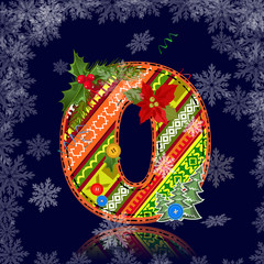 Winter number letter with an ornament