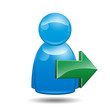 Icono 3D usuario con simbolo exportar