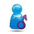 Icono 3D usuario con simbolo masculino