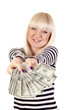 Beautiful smiling woman holding cash