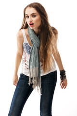 Young beautiful woman in casual clothing