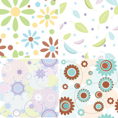 4 seamless floral background textures