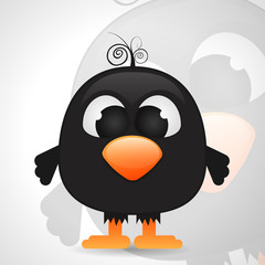 funny cartoon black bird