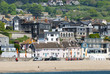 Stacked houses and beach, Lyme regis Dorset, UK