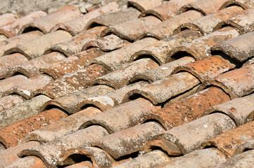 Vecchio tetto in coppi di terracotta