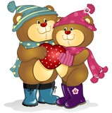 Bears in love with heart