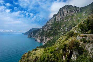 cliffs dropping into turqoise mediteranean sea, amalfi, italy