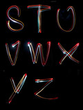 alphabet light neon writing long exposure