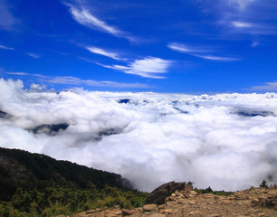 High Mountain with sea of cloud and blue sky