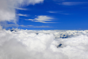 Bird view of white cloud and blue sky