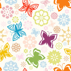 vector illustration of a colorful seamless pattern with  butterf