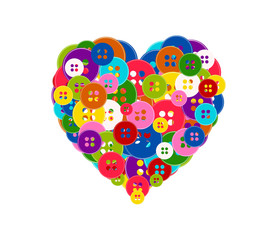 Vector illustration of a heart made with the buttons isolated on