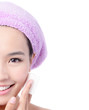 Young Beautiful Girl remove makeup by Cleansing Cotton