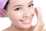 Young Beautiful Girl remove makeup by Cleansing Cotton poster