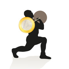 Black silhouette of weightlifter holding the Euro coin