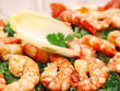 prawns on wakame salad