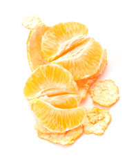 Peeled tangerine isolated on white background