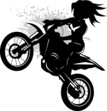 Fototapety girl on a black motorcycle