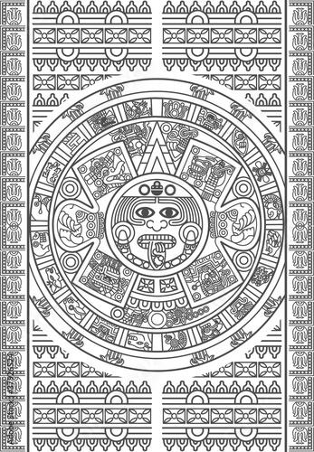 Stylized Aztec Calendar - 37926524