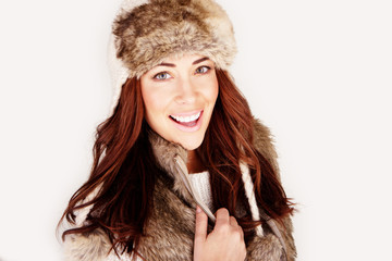 Vivacious Redhead In Winter Outfit