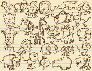 Notebook Doodle Sketch Animals Vector Set