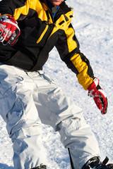 Junge am Snowboard - Detail