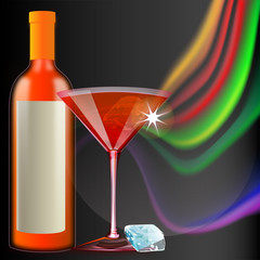 getränkekarte mit cocktail und eiswürfel