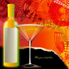 getränkekarte mit cocktail - abstrakter hintergrund