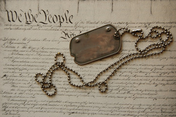 Freedom is not free . Dog tag on American Constitution