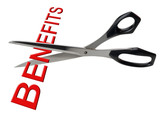Cutting  benefits, isolated poster