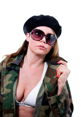 Woman in military jacket