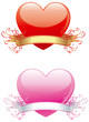 two  Vector  ornate hearts with ribbon