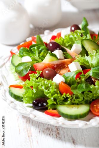 Vegetable salad with feta and kalamata olives