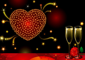 Vector holiday with Champagne Flutes, heart-fireworks