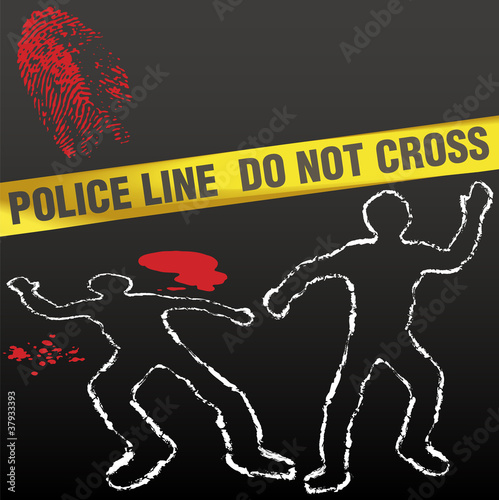 Crime scene tape corpse chalk outline