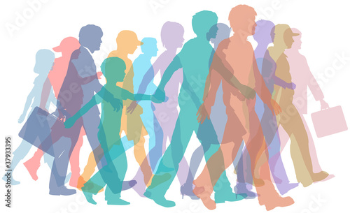 Colorful crowd of people silhouettes walk