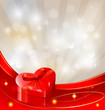 Valentine background with red gift box with bow