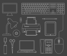 Vector outlined set of office devices