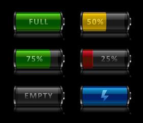Set of battery level icons