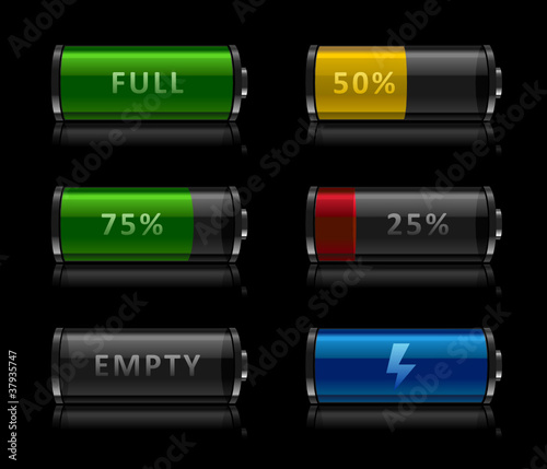Set of battery level icons