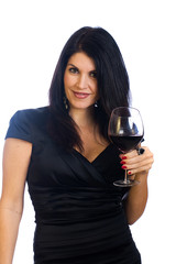 sexy woman with glass of red wine