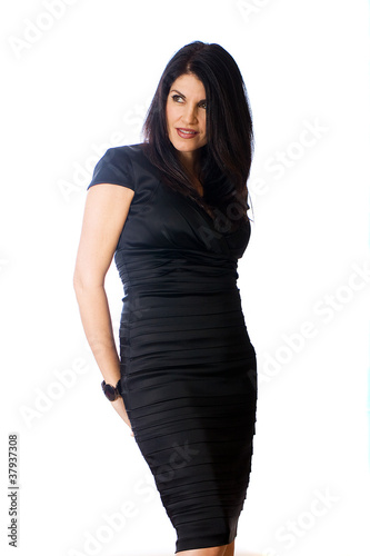 sexy woman in black cocktail dress