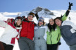 Group of teenage skiers having fun