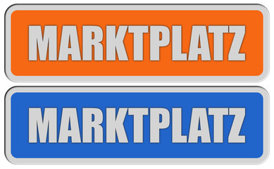 2 Sticker orange blau MARKTPLATZ